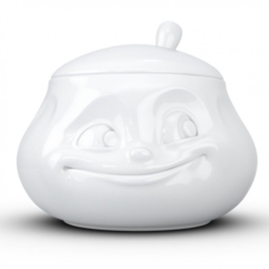 Zuckerdose weiß mit Gesicht