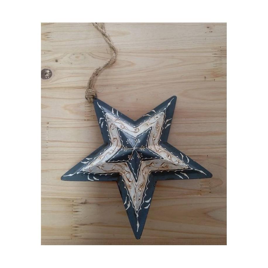Stern aus Metall in grau/creme 16 cm