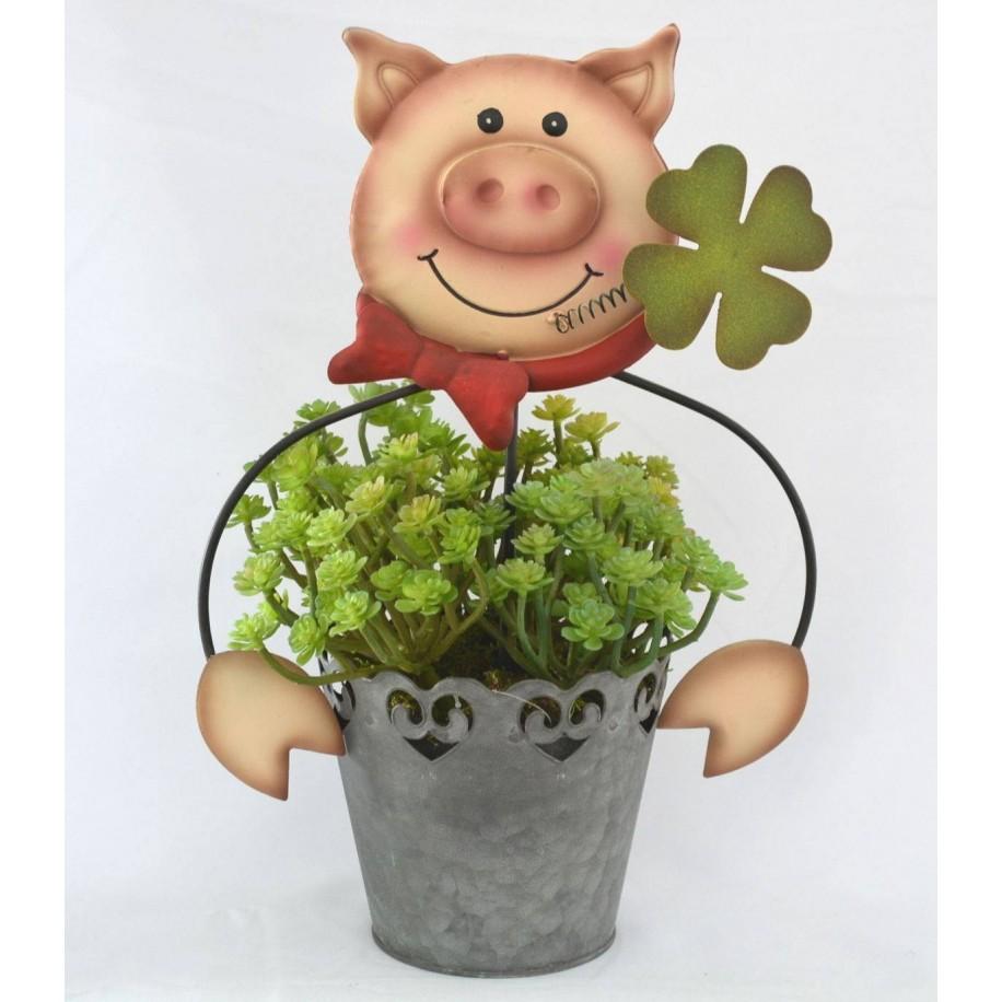 Topfstecker Schwein mit Kleeblatt