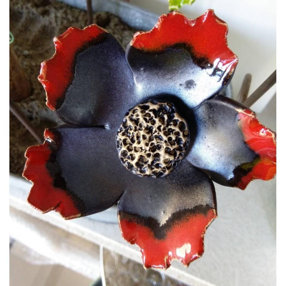 Keramik Blume schwarz/rot 11 cm