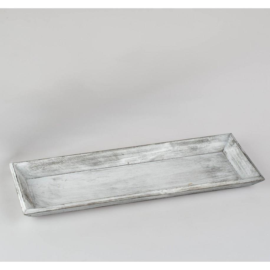 Tablett aus Holz in grau/weiß patiniert