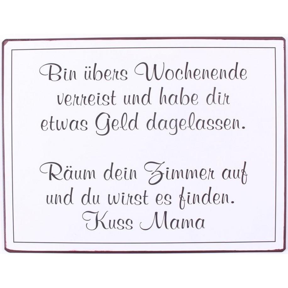 """Wandbild Metall """" Bin übers Wochenende ...."""""""