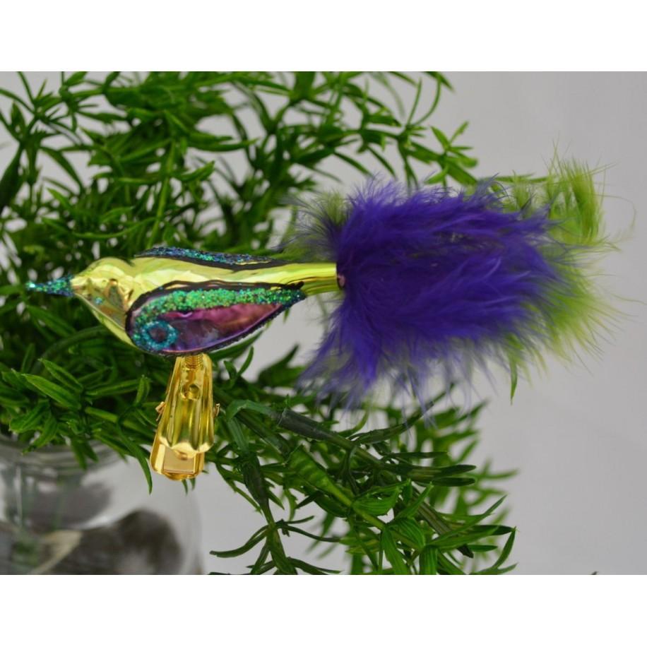 Christbaumschmuck Vogel mit Klammer blau/grün