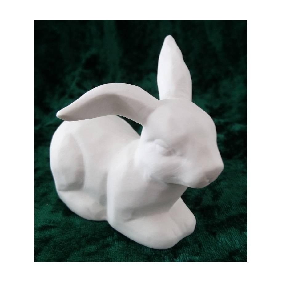 Hase weiss matt Porzellan liegend Gilde