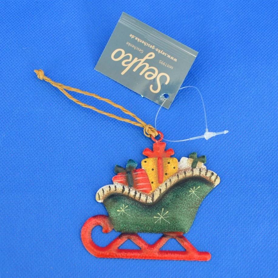 Metallhänger 7 cm Schlitten mit Geschenke