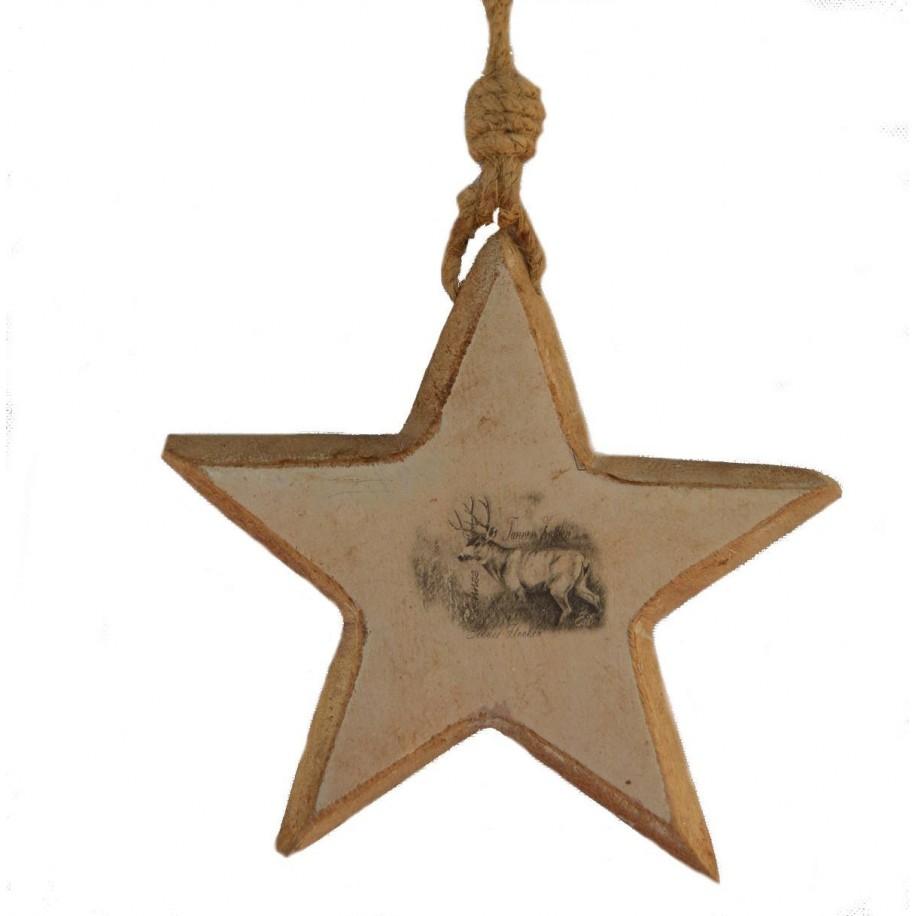 Sternhänger Hirsch 16 cm aus Holz bedruckt