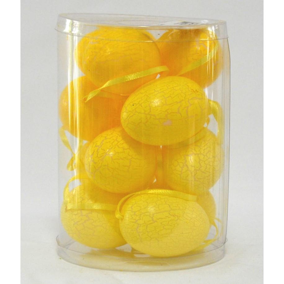 Ostereier 12 er Set zum hängen gelb