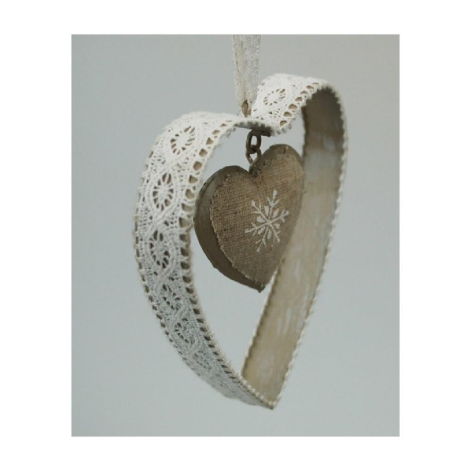 Herz aus Metall mit Spitze weiß 10x9 cm