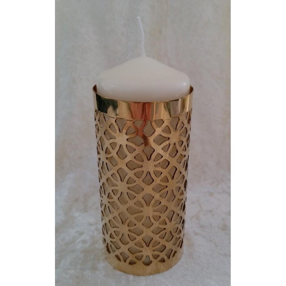 Zylinder Messing 13x8 cm für Kerze