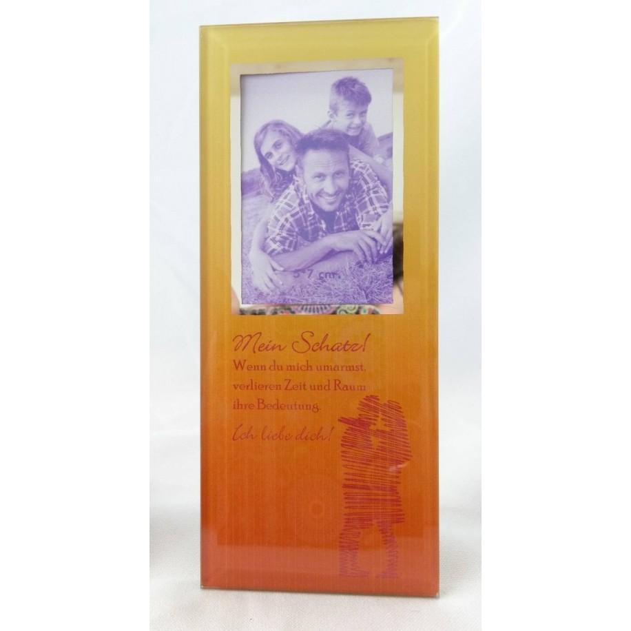 Gilde Glas Bild mit Spruch und Fotorahmen Mein Schatz
