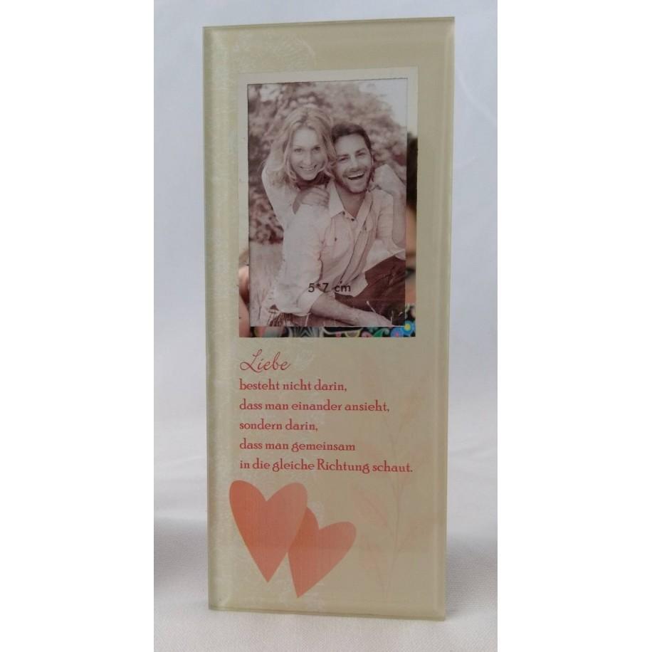 Gilde Glas Bild mit Spruch und Fotorahmen Liebe besteht...