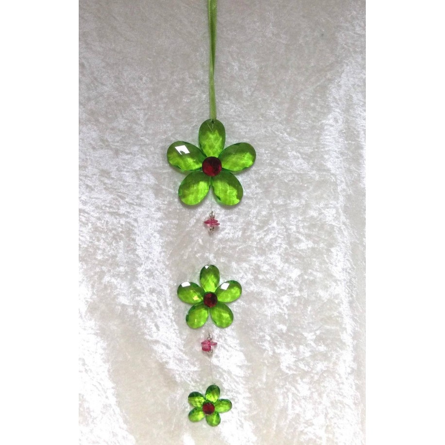 Girlande mit drei Blumen aus Acryl 35 cm Pink/grün