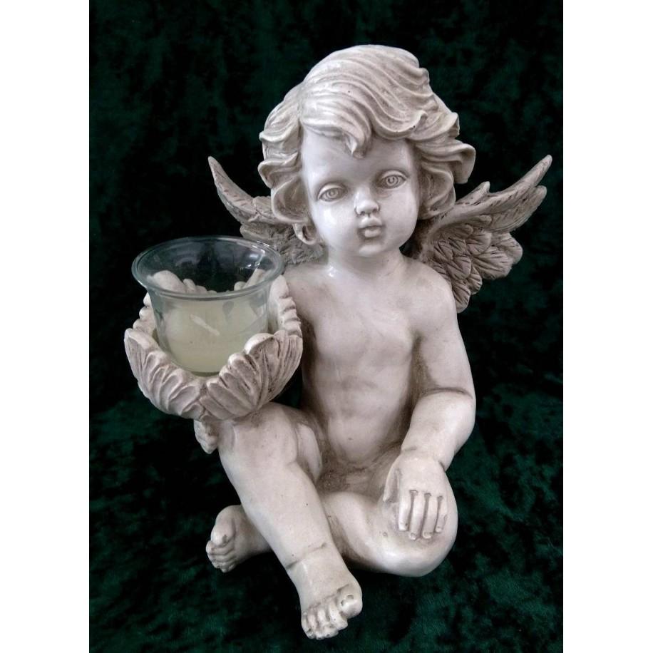 Engel mit Teelichthalter Grabschmuck