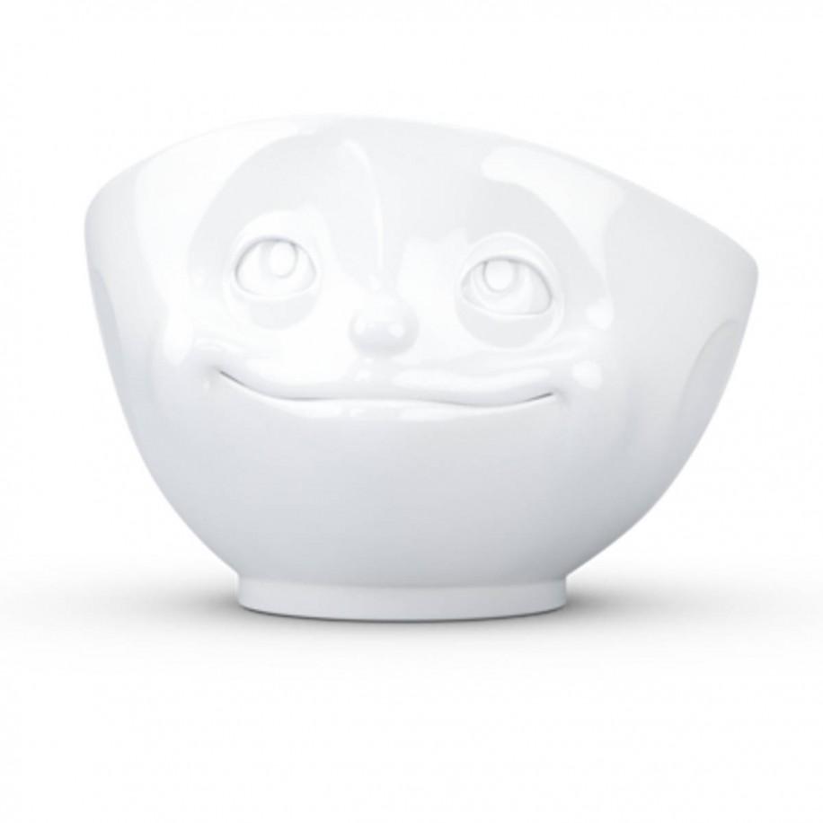 Müslischale weiß 500 ml mit Gesicht verknallt