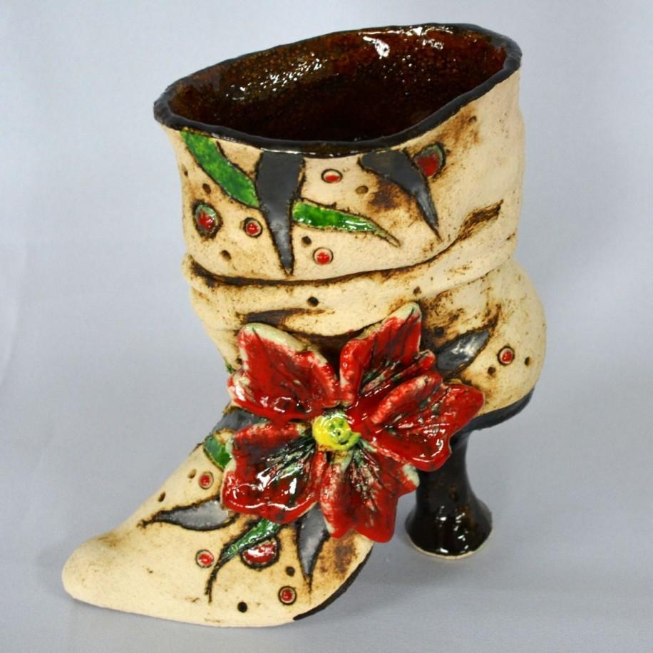 Pflanztopf Schuh mit Blume