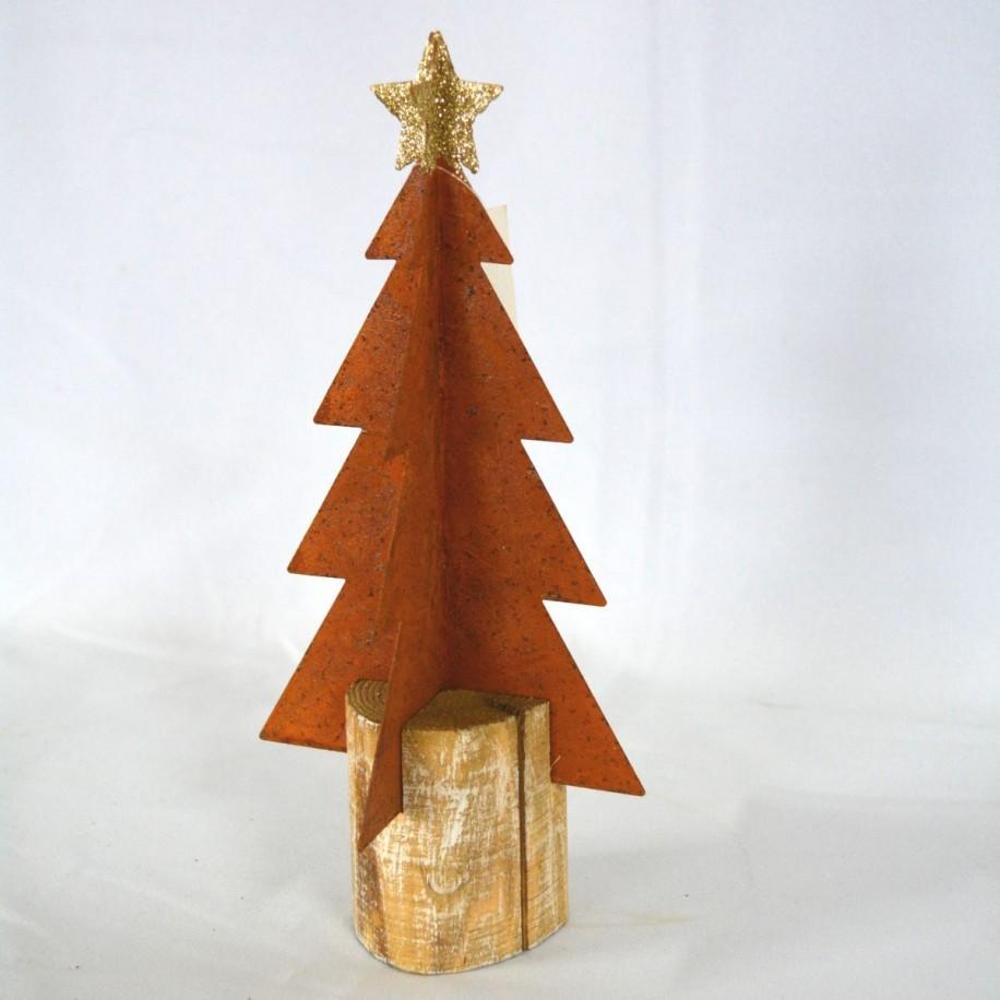 Baum 21 cm rostig mit Stern in Glitzergold