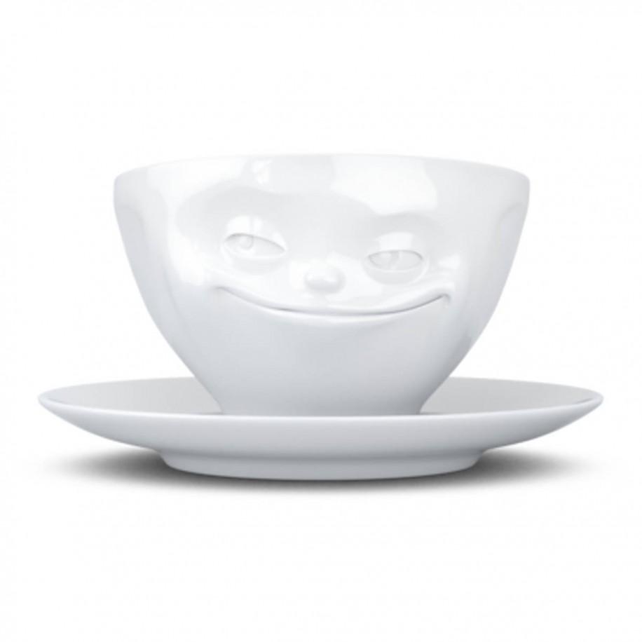Kaffeetasse weiß 200 ml mit Gesicht grinsend