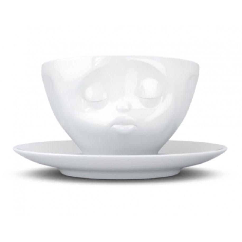 Kaffeetasse weiß 200 ml mit Gesicht küssend