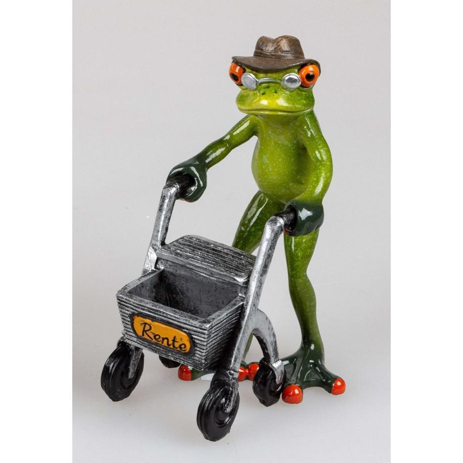 Frosch mit Gehhilfe Rolator und Hut