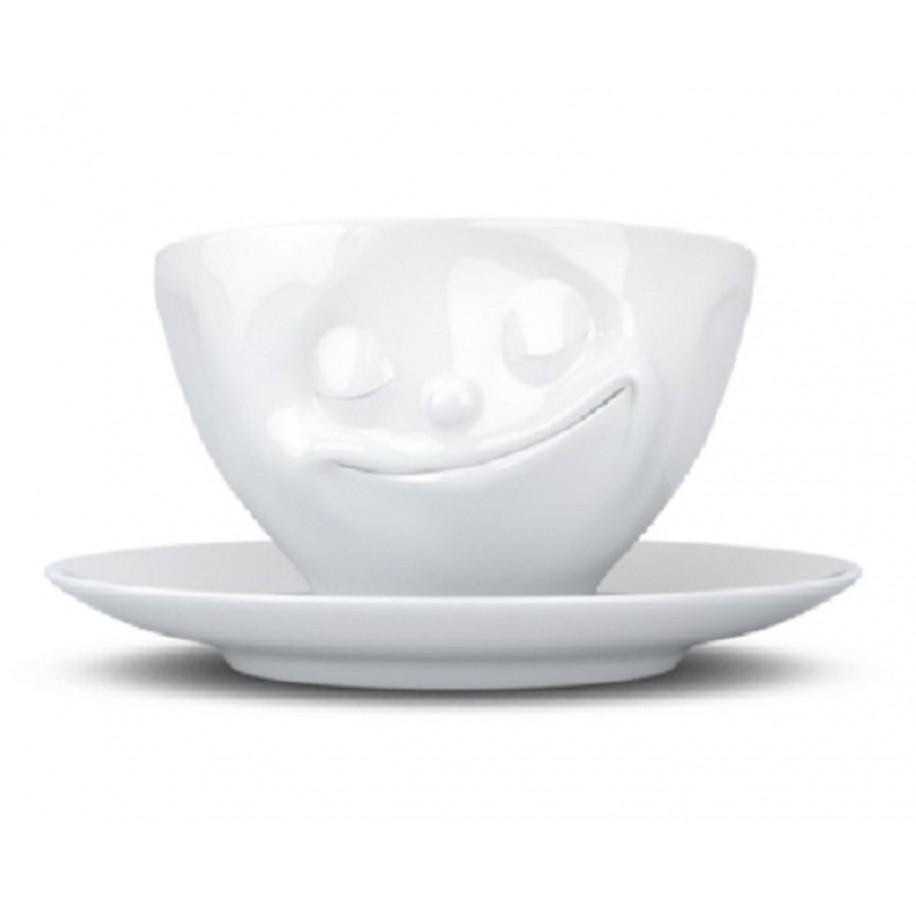 Kaffeetasse weiß 200 ml mit Gesicht glücklich
