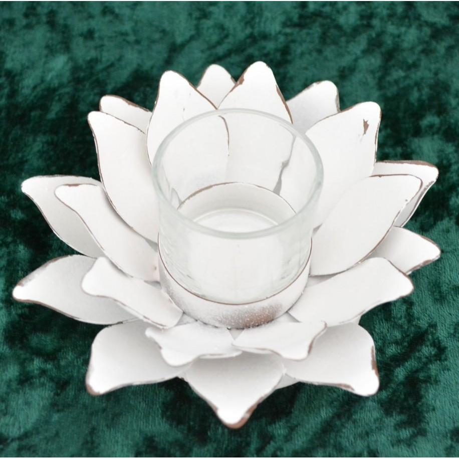Teelichthalter Blüte weiss 12 cm aus Metall