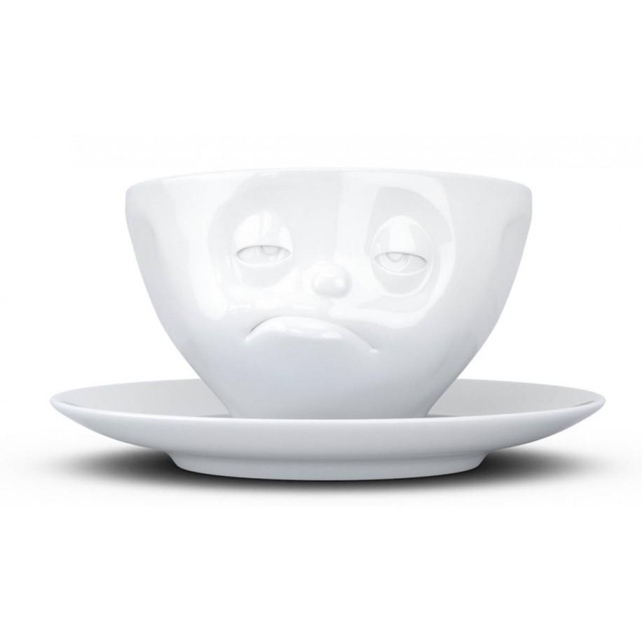 Kaffeetasse weiß 200 ml mit Gesicht verpennt