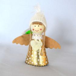 Christbaumkugel 6 cm mit Engel und Buch in silber