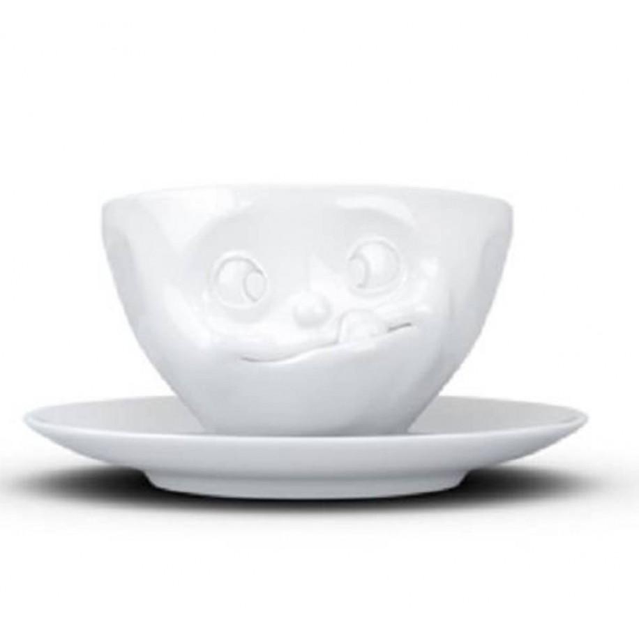 Kaffeetasse weiß 200 ml mit Gesicht lecker