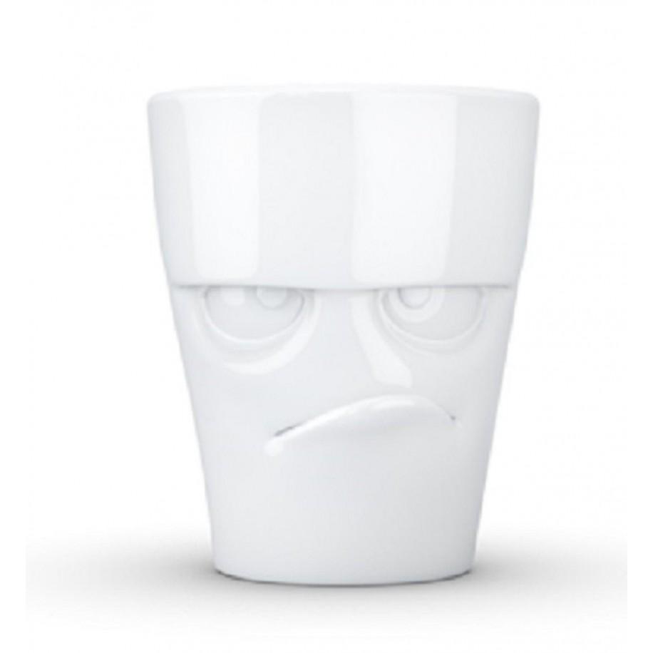 Henkeltasse weiß 350 ml mit Gesicht grummelig