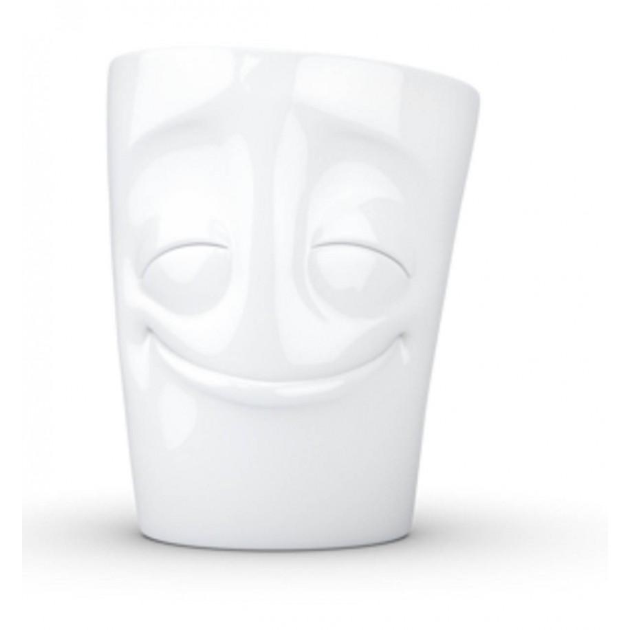 Henkeltasse weiß 350 ml mit Gesicht vergnügt
