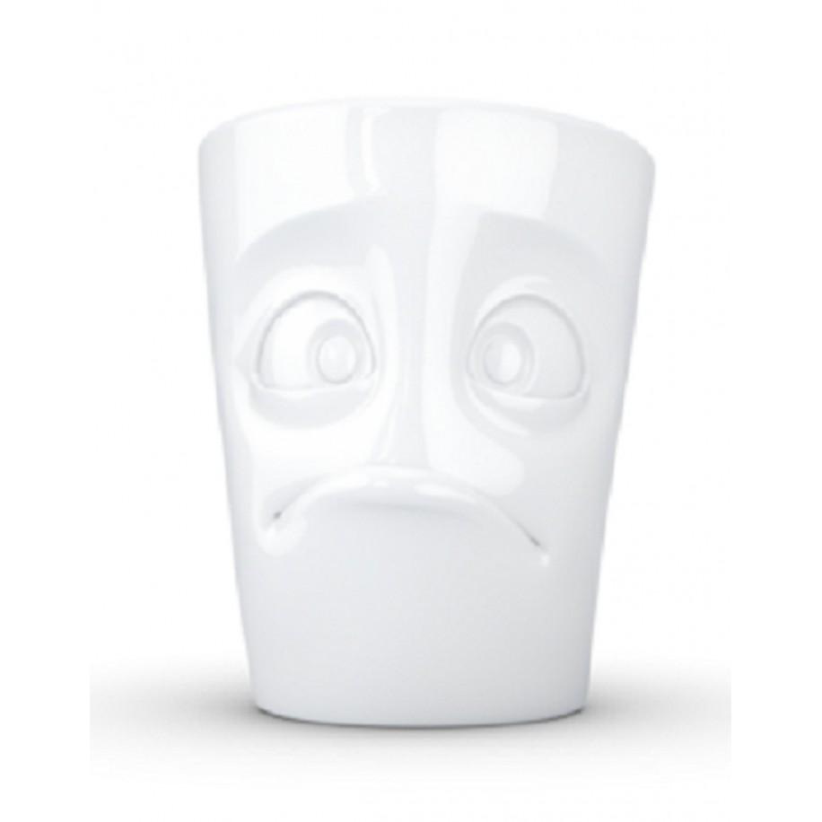 Henkeltasse weiß 350 ml mit Gesicht verdutzt