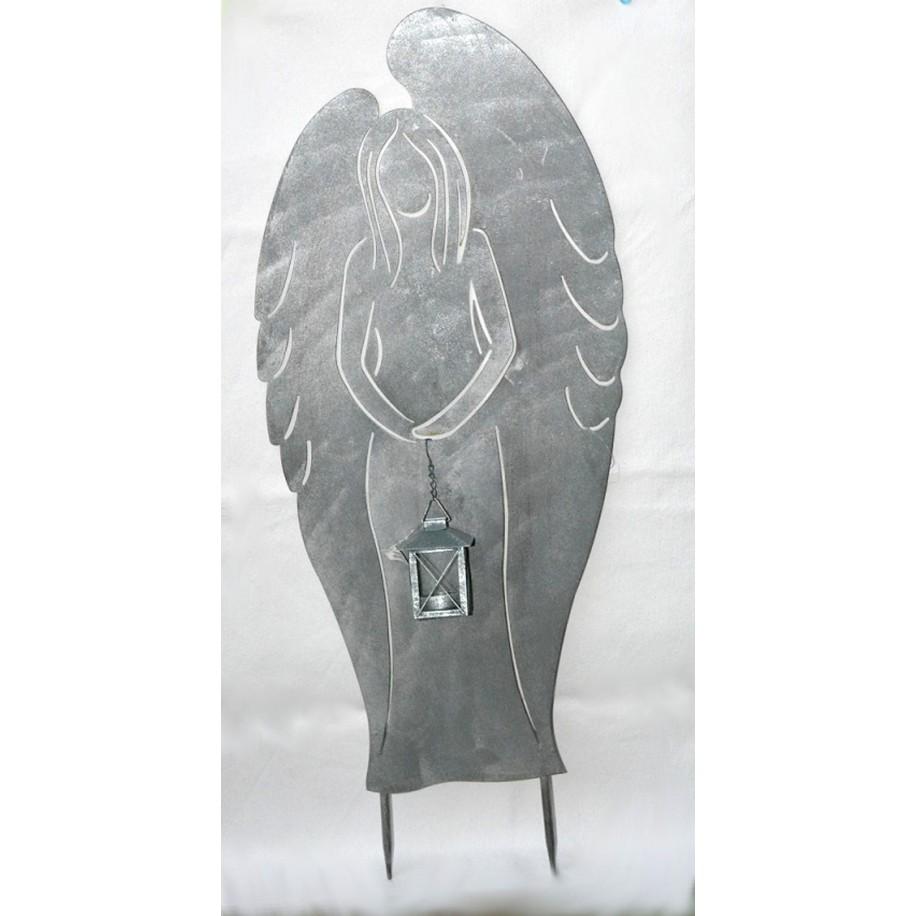 Engel m.Laterne vorne silber-hellgrau lackiert-patiniert