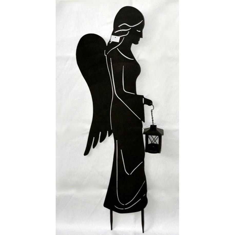 Engel m.Laterne seitlich schwarz lackiert-patiniert