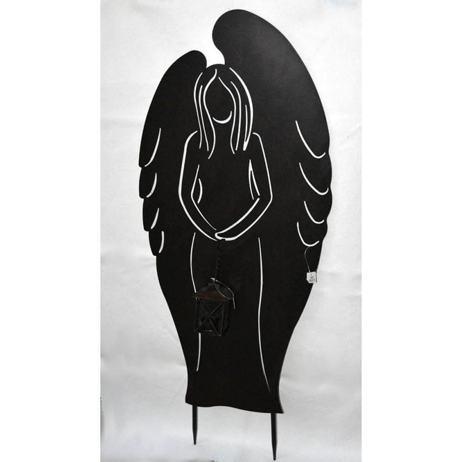 Engel m.Laterne vorne schwarz lackiert-patiniert