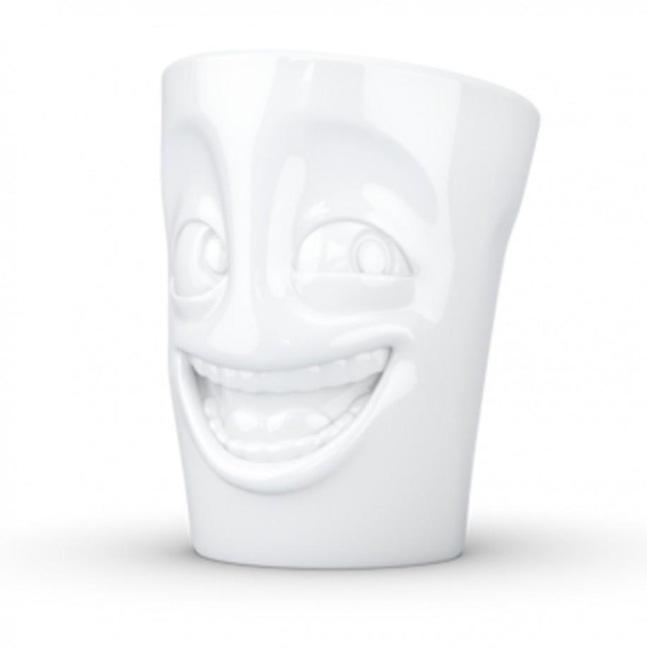 Henkeltasse weiß 350 ml mit Gesicht witzig