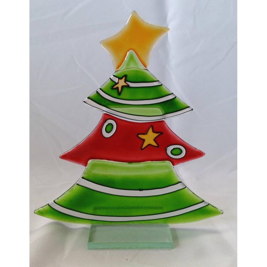 Weihnachtsbaum aus Glas rot-grün Gilde