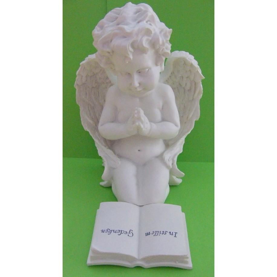 Grabschmuck Engel mit Buch weiss