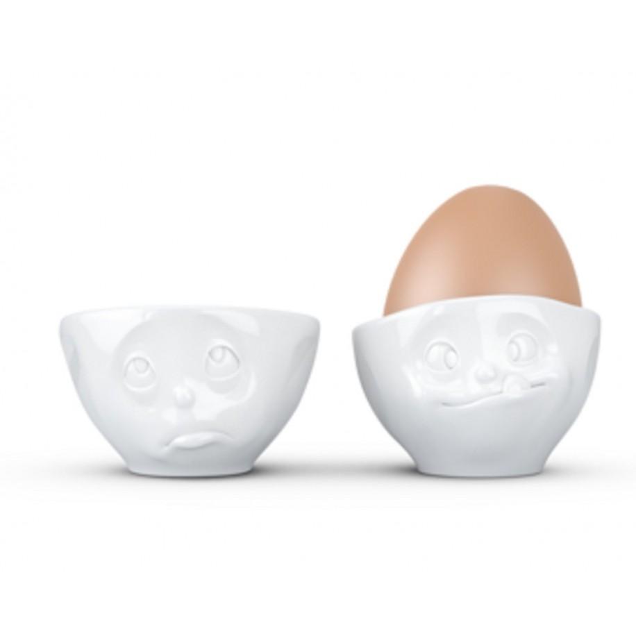 Eierbecher 2 er Set weiß mit Gesicht Och Bitte / lecker