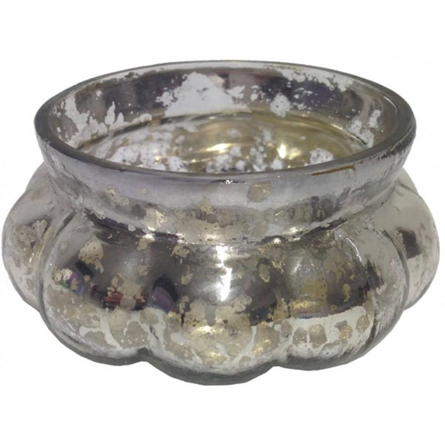 Windlicht aus Glas 9,5 cm silber