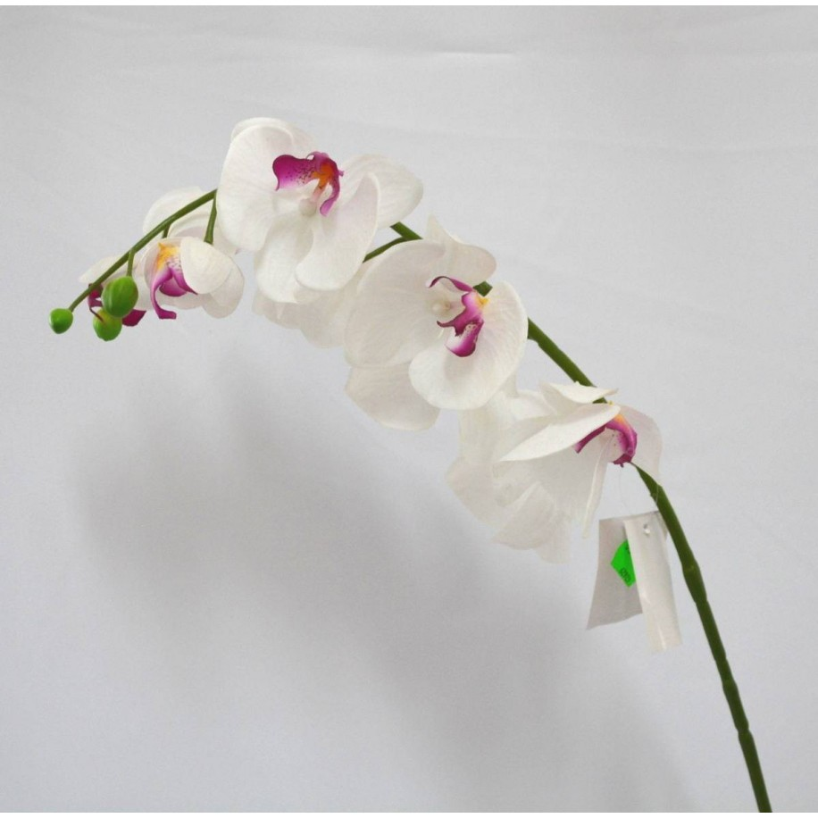 Deko Orchidee mit 9 Blüten weiß - pink