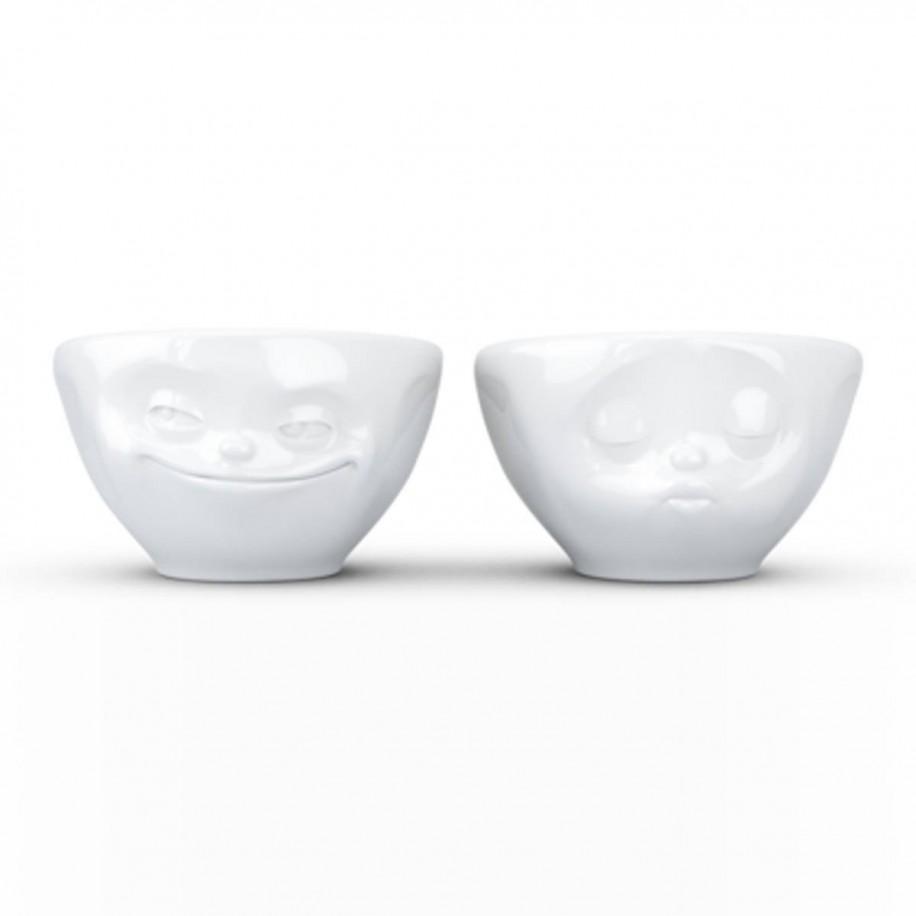 kleine Schälchen 2 er Set 100 ml weiß mit Gesicht grinsend / küssend