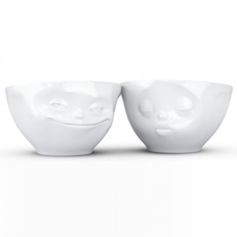 mittleres Schälchen 2 er Set 200 ml weiß mit Gesicht grinsend / küssend