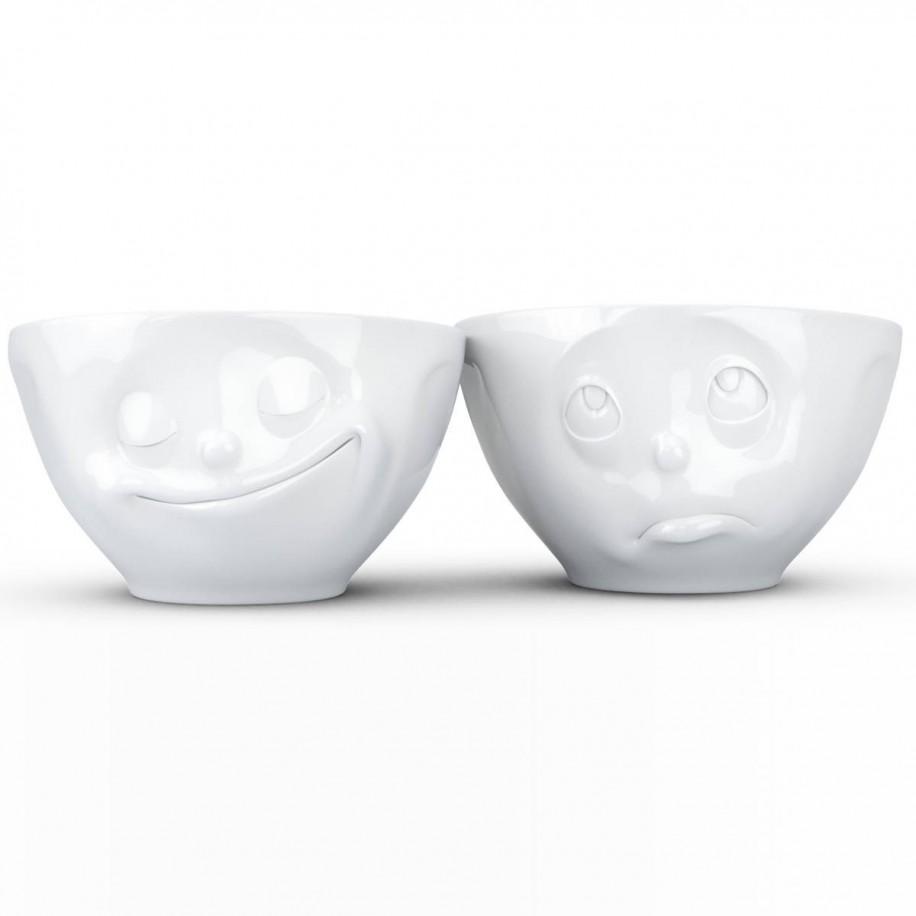 mittleres Schälchen 2 er Set 200 ml weiß mit Gesicht glücklich / Och Bitte